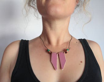 Handmade Dusky Pink Statement Necklace Up-cycled Wood, Copper, Leather, Painted Wood, Boho, Hippie, Festival, Tribal, Geometric