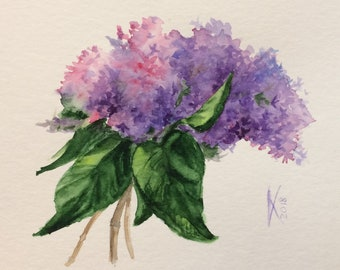 Lilacs Original Watercolor Flowers Painting, Bouquet of Lilacs, Lilac Painting, Gift for Her, Floral Art, Wall Decor, Room Decor, A5, Small