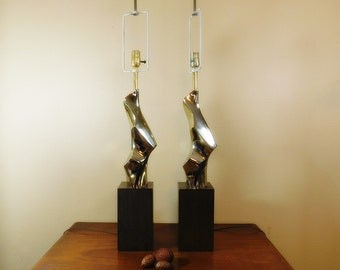 Vintage pair   Richard Barr Modernist Sculptural  Laurel Lamps