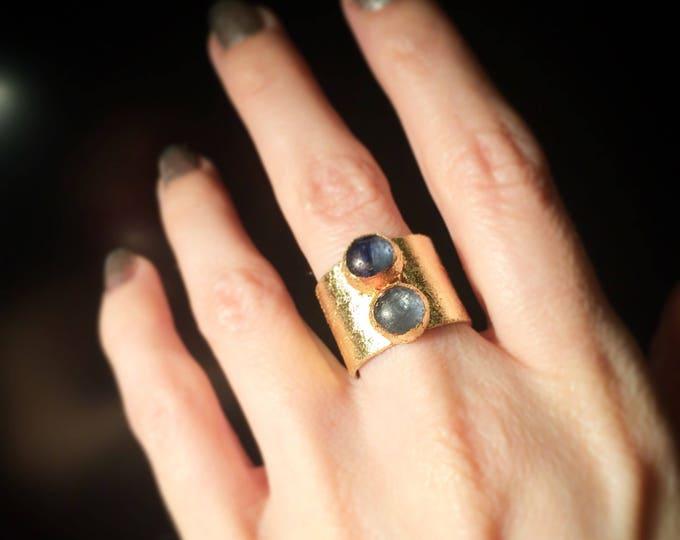 Kyanite Gold Leaf Cuff Ring, size 6.5