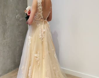Light Creamy Champagne Deep V Lace Wedding Dress