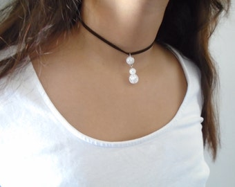 Danburite Choker necklace, Suede necklace, Gemstone choker necklace