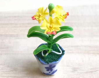 Miniature Flower,Miniature Flower Pot,Miniature Vase,Dollhouse Flower,Miniature Garden,Dollhouse Flower Pot,Miniature Orchid