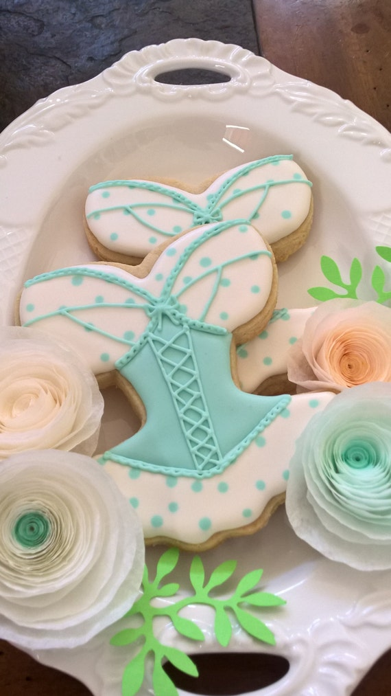 Blue Corset, Lingerie Bridal Shower Cookie Favors - 12 Pcs, Wedding Cookies,  Bridal Shower Cookies