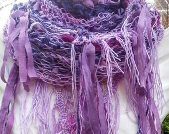 Lavender Fields Bohemian shawl in hand spun Merino wool, sari silk yarn, Czech glass beads