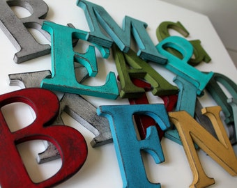 "Single 3.5"" Vintage Style Letter.  Hand painted and distressed."