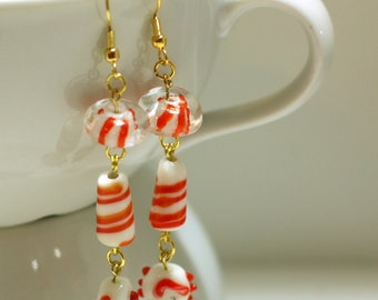 Red Candy Lampwork Charm Dangle Earrings - Winter - Christmas - Holiday Earrings - Gifts for Her