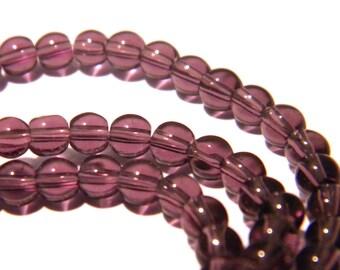 80 beads 4 mm translucent glass - round glass bead - purple-F154-4