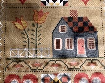 MAYniaSALE Country - Folk Calendar, Laura J Conley, Vintage 1989, Cross-Stitch Calendar