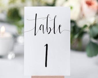 Printable Table Numbers / Calligraphy / Wedding Table Numbers / Table Numbers 1-20 / Instant Download / Black and White / Digital / 4x6