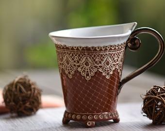 Ceramic Cup, Tea Cup, Handbuilt cup , Ceramics and Pottery , Handpainted, handmade, Coffee Cup, Mug, Unique Mug, Wedding gift, Pottery Mug