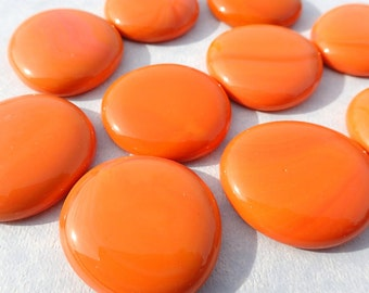 Orange Glass Gems - 10 Mosaic Tiles Extra Large - Shiny Vase Fillers - Use for Home Decor Craft Supplies Pumpkin Orange