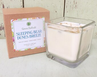 Sleeping Bear Dunes Breeze Soy Candle - 12 oz. Glass Cube - Green Daffodil - Hand poured -CG