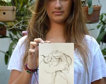 Original female drawing, pencil drawing, female dancing, movement, art, flowing, modern art drawing, sketch by Cristina Ripper