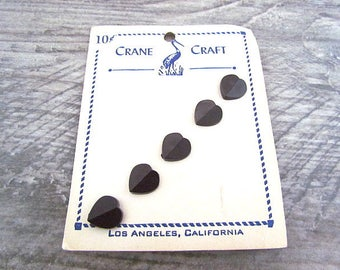 Vintage small Black Heart Buttons carded Crane Craft