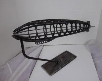 Steampunk Zeppelin metal sculpture, dirigible, airship , Hindenburg, cnc cut