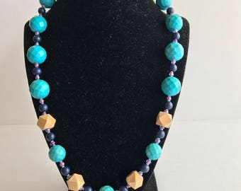 Wooden and Stone Geometric Necklace, Teal and Wooden bead necklace.