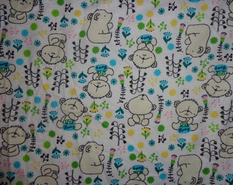 White Izzy Bear/Flowers Flannel Fabric by the Yard
