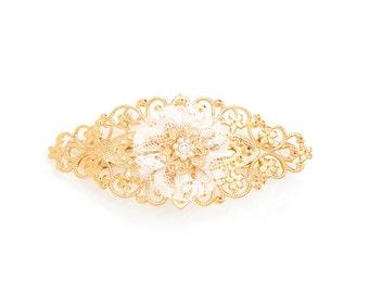 Gold Hair Clip, Bridal Hair Pin, Bridal Accessory, Bridal Hair Clip, Gold Hair Pin, Bridesmaid Clip, Bridesmaid Gift, Wedding Hair Clip