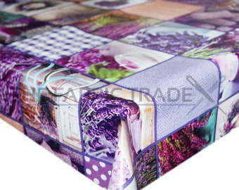 Lavender Floral Patchwork PVC Vinyl Tablecloth Dining Kitchen Table Protector Cover