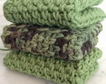 Cotton Crochet Dishcloth, Washcloth - Set of 3