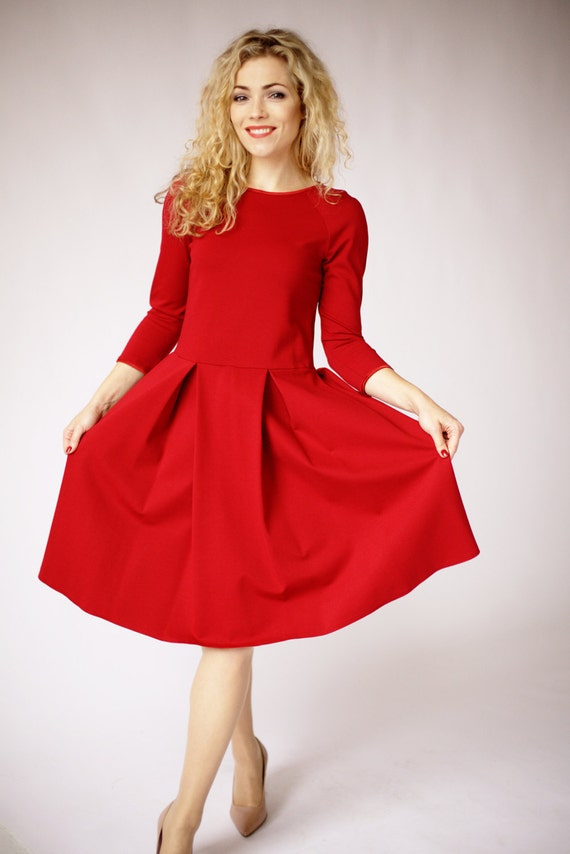 Long Sleeve Dress In Red Dresses For Women Red Formal Dress