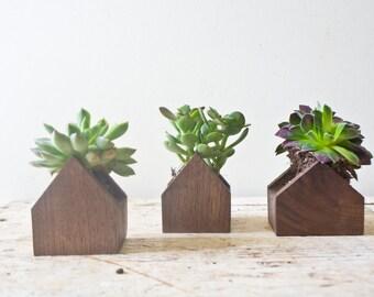 Tiny House Planter Set - Walnut Wood Air Plant Stand Succulents Container Planters Terrarium