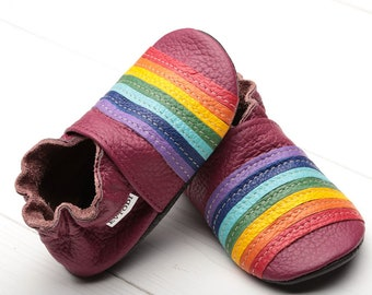 Baby shoes, Leather baby shoes Slippers, Girls' shoes, Baby booties Leather toddler moccasins Boys' shoes, Crib shoes, Evtodi, Red, Rainbow