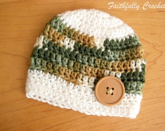 Newborn Boy Button Beanie... Ready to Ship... Photo Prop