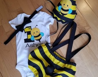 Bumble Bee Birthday outfit, First Birthday, Cake Smash