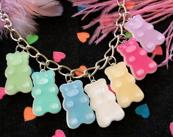 Pastel Rainbow Gummy Bear Candy Food Charm Necklace, Laser Cut Acrylic, Plastic Jewelry