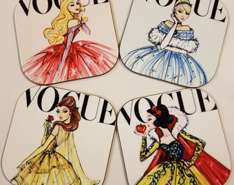 Vogue Fashion Princess Coasters- Set of 4- Snow White, Belle, Cinderella, Sleeping Beauty -Special Orders Welcome- Sandstone or hardboard