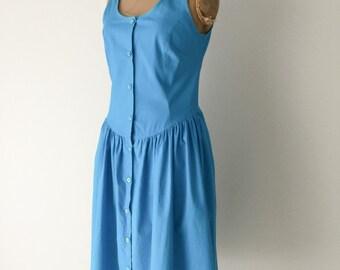 Cotton Summer 80's Dress, Cotton Dress, Blue Summer Dress, Cotton, Vintage Dresses, Full Skirted Dress, New Zealand, SZ 8-10 US 10-12 UK, D