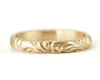 Yellow Gold Wedding Band-  14k Flourish Pattern 3mm Wide Ring - Vintage Style Ring  - Wedding Band for Her