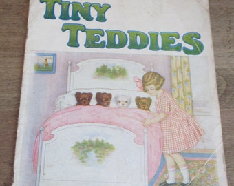 Tiny Teddies Linenette book 1928 by Sam'l Gabriel Sons and Company New York Printed in USA No. 444