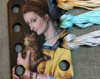 Young Lady with Cat by Bacchiacca floss organizer wooden embroidery floss sorter thread keep