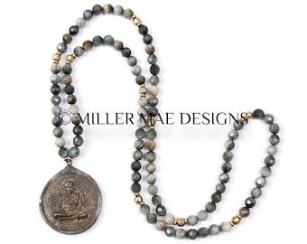 Meditating Buddha Pendant Necklace | Hawk's Eye Necklace | 9 Nine Buddha Necklace | Grey Stone Necklace | Yoga Necklace Jewelry