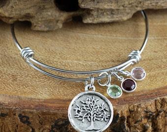 Family Tree Bangle Bracelet, Silver Tree of Life Bracelet, Silver Tree Bangle Bracelet, Birthstone Charm Bracelet, Tree of Life Bangle