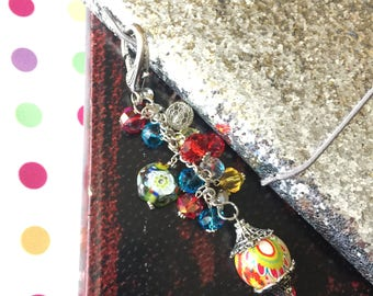 TN Journal Charm, Planner Charm, Beaded Key Chain, Traveler's Notebook Bling, Junk Journal Charm, Purse Dangle, Red Purse Charm