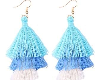 Dangle Tassel Fringe Earrings - Sea Breeze