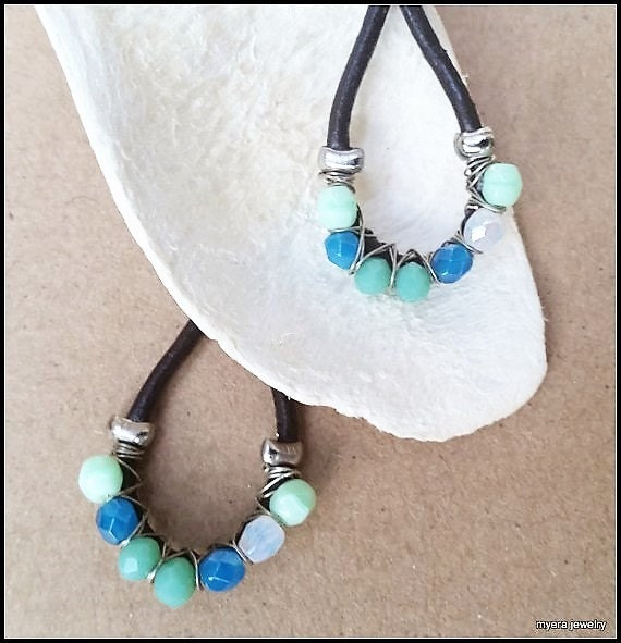 Leather drop earrings, Chandelier Wire Earrings, Large Dangle Earrings, Big Womens Earrings, Blue Wire Earrings, Womens Mint Earrings