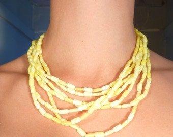 SALE --- Vintage Hattie Carnegie Citrus Glass Beads and Glass Flower Clasp Necklace