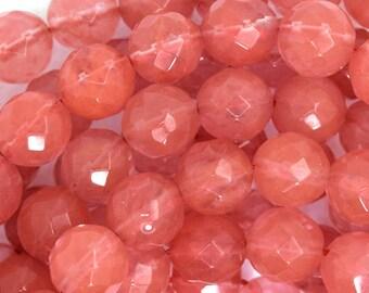"10mm faceted cherry quartz round beads 15"" strand 35718"