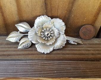 Coro Silver Tone Flower Brooch