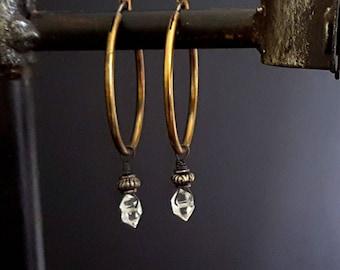 Vintage Style Crystal Earrings, Herkimer Diamond Earrings, Brass Hoop, Gemstone Hoop, Dangle Stone Hoop, Rustic Elegance, Bohemian