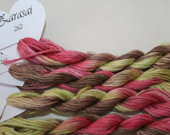 262 Zarasai - hand dyed variegated stranded cotton by Fils a Soso. Hand dyed yarn for cross stitch. Pink, green and browns. Made in France