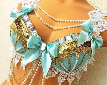 Made to Order! • Bows & Pearls Lolita Rave Bra • (made in any color!) rave bra • festival fashion • costumes • rave bras