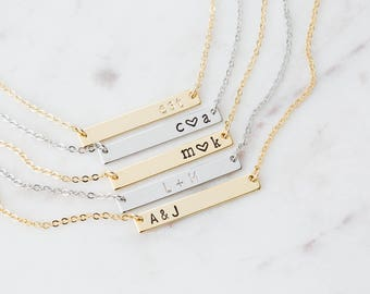 Personalized Bar Name Plate Necklace / Gold Bar Initial Necklace / Bridesmaid Gift / Hand Stamped Jewelry / Custom Rose Gold Bar Necklace