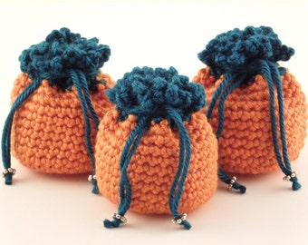 3 Miniature Pouches, Crochet Mini Pouches, Orange and Teal Sacks, Embellished Pouches, Handmade Mini Sacks, Pouches with Tie, Pouch for Gift