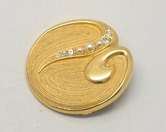 Vintage Venue Gold Tone Faux Pearl and Rhinestone Modernist Brooch
